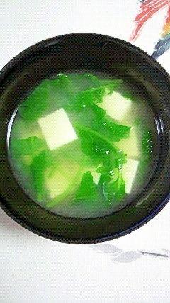 ラディッシュの葉とお豆腐のお味噌汁
