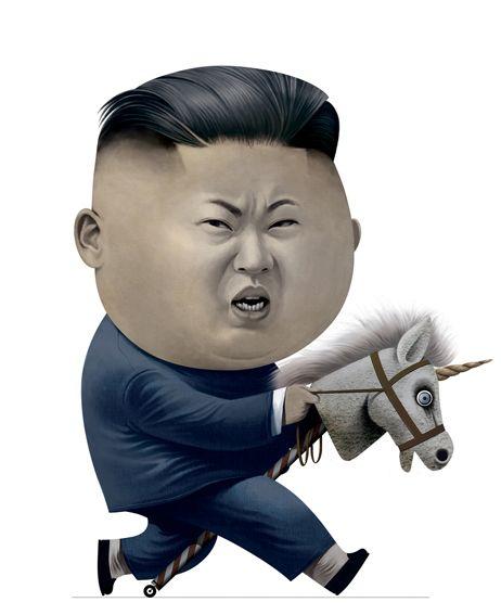 Kim Jong-un riding a unicorn toy by Cristo Salgado