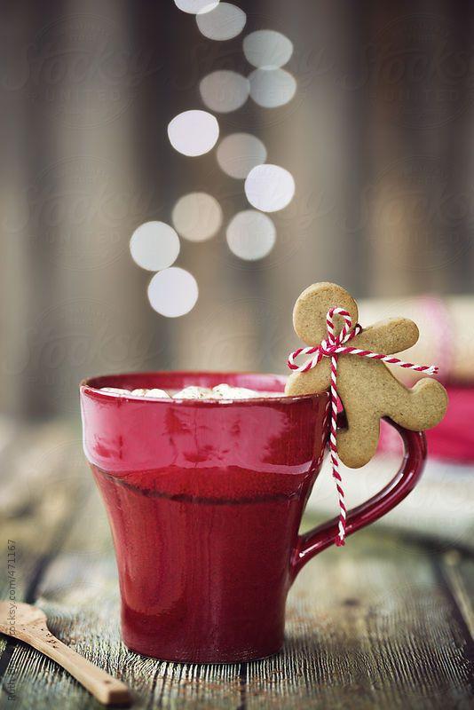Hot chocolate with mini gingerbread man xx