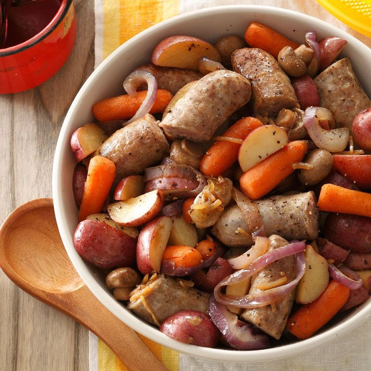Bratwurst Supper Recipe -This meal-in-one grills to perfection in a heavy-duty foil bag and is ideal for camping. Loaded with chunks of bratwurst, red potatoes, mushrooms and carrots, it's easy to season with onion soup mix and a little soy sauce. —Janice Meyer Medford, Wisconsin