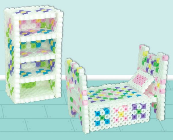 Did you know that you can make real, working 3-D doll furniture using Perler beads?  I would have flipped over this when I was a
