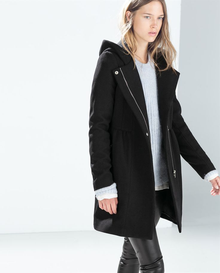 Image 3 of COAT WITH HOOD from Zara