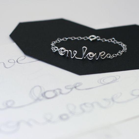 ONE LOVE, Armkette, Sprücheklopfer - KIZZU - Bransoletki srebrne