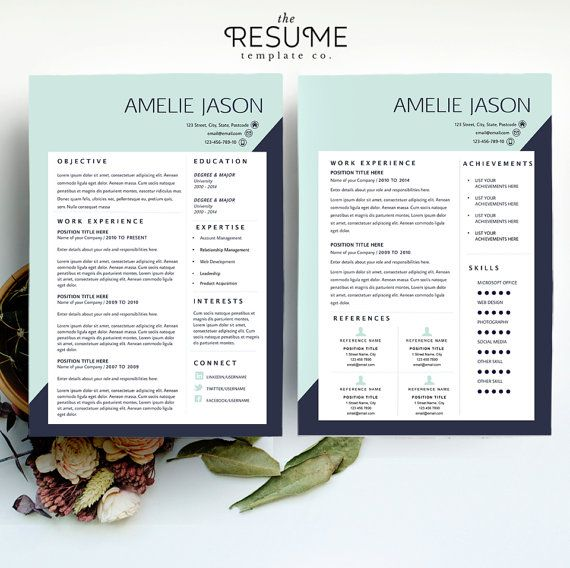 2 page Resume Template and Cover Letter by TheResumeTemplateCo