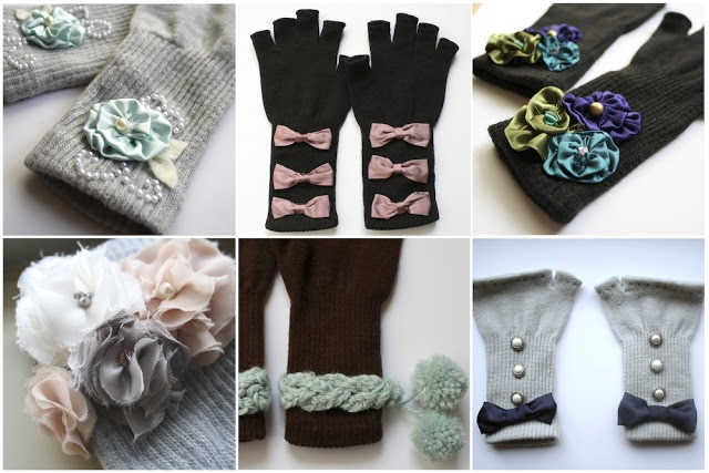 A girl and a glue gun: embellishing.....gloves that is.