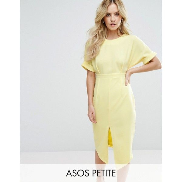 ASOS PETITE Smart Woven Dress with V Back and Split Front (€50) ❤ liked on Polyvore featuring dresses, petite, yellow, petite dresses, zip back dress, woven dress, cinch dress and deep v back dress