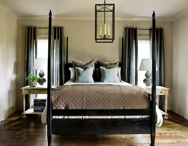87 best bedroom neutral and rustic images on pinterest for Black four poster beds