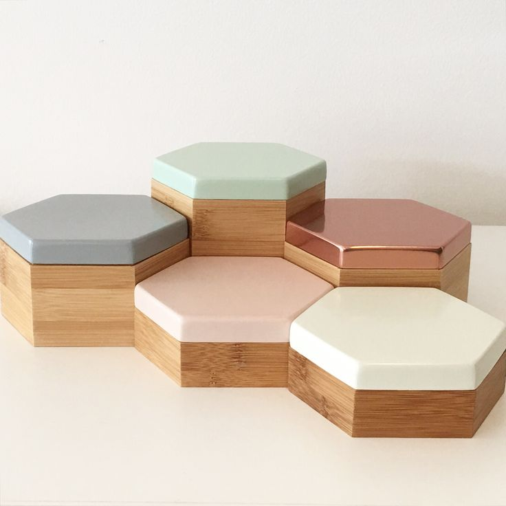 Hex Boxes In Pastel Mint, Peach, Grey, White And Blush Mirror Rose Gold