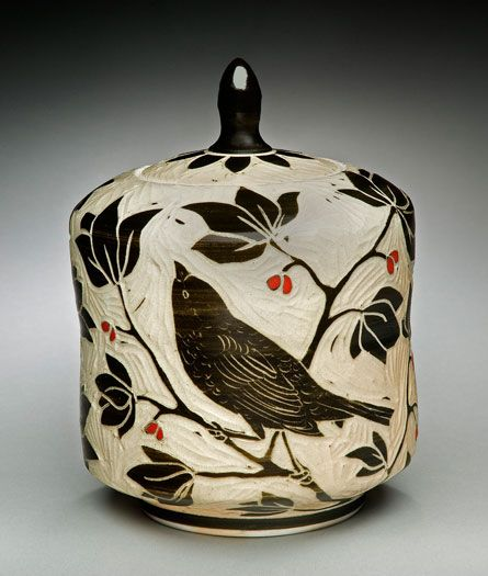 Bird Tea Caddie; porcelain and red underglaze, 8x5x5 in. $150.