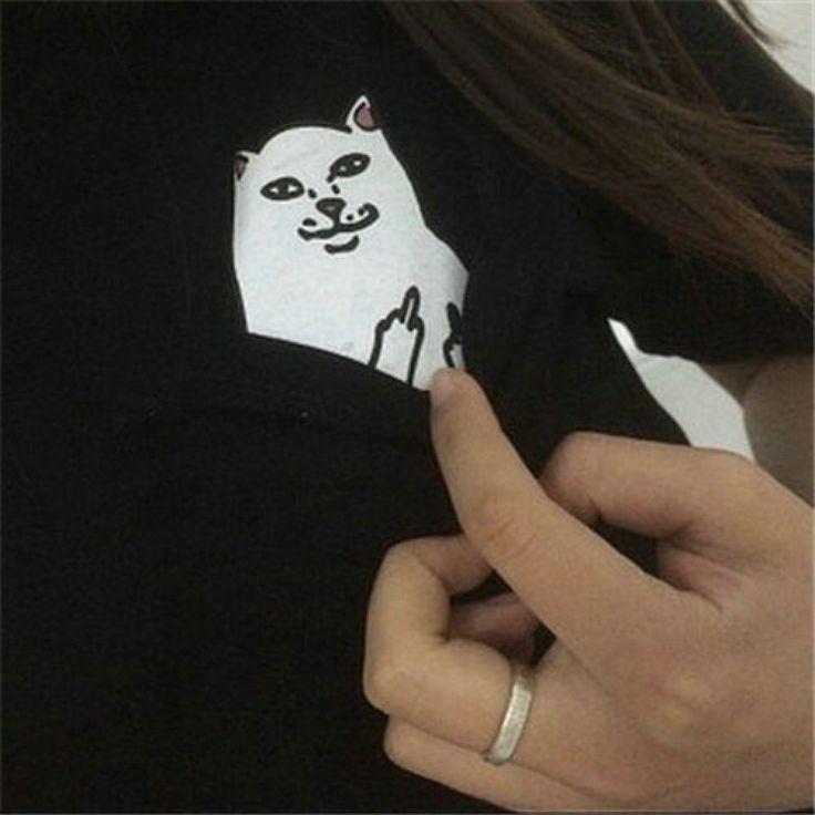 Middle Finger Pocket Cat Shirt Fashion Women Tops Tee Casua Blouse Loose Shirt #CAT #Blouse