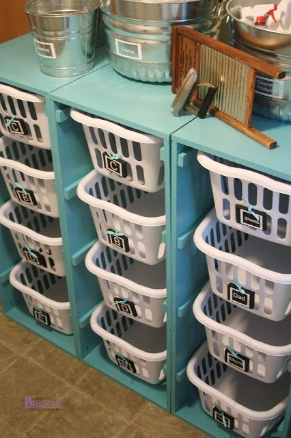 Organizing with Baskets • A roundup of great Ideas and Tutorials! Including, from 'being brooke', this diy laundry room dresser project with great step by step photos and instructions.