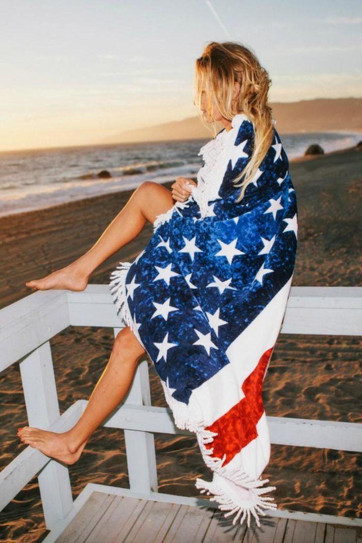 Women's Fashion American Flag Beach Towel with Tassel