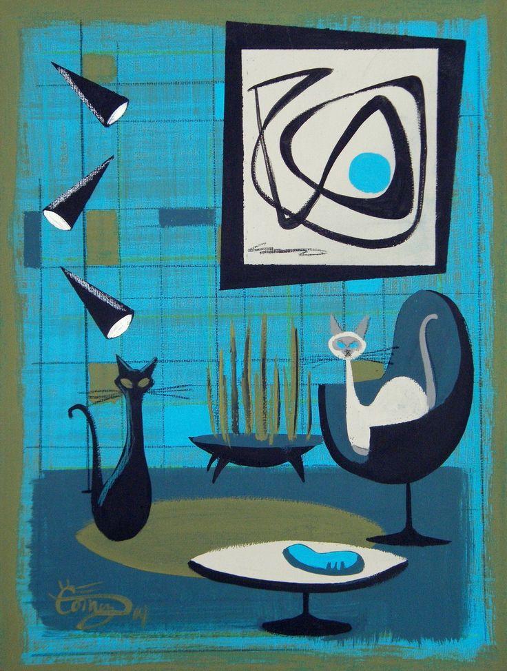 El Gato Gomez Painting Retro Mid Century Modern Eames Eichler Home 1950s Cats   eBay