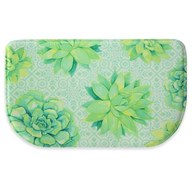 product image for Bacova 18-Inch x 30-Inch Succulent Tossed Memory Foam Kitchen Mat in Green/Blue