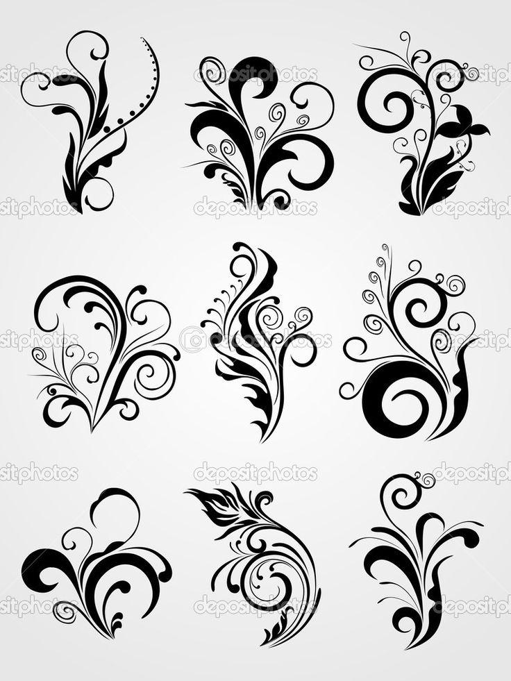 графический дизайн элемент цветочные татуировки - Стоковая иллюстрация: 1550771