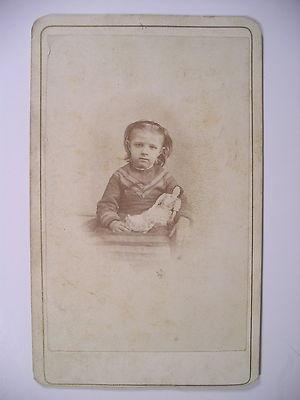 CDV Little c1860s Girl w Exquisite Ceramic Doll Brandon VT Nathan s Capen | eBay