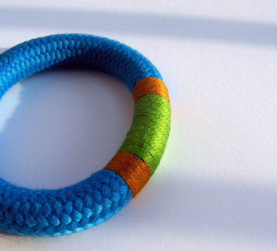 Striped Climbing Rope Bangle in Gold Blue Green by JollyJollyJulie