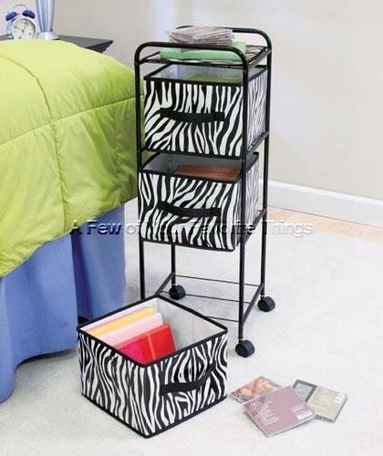 Safari Zebra Storage Unit Clothes Shoe Toy Bin Book Craft Organizer Shelf  Decor