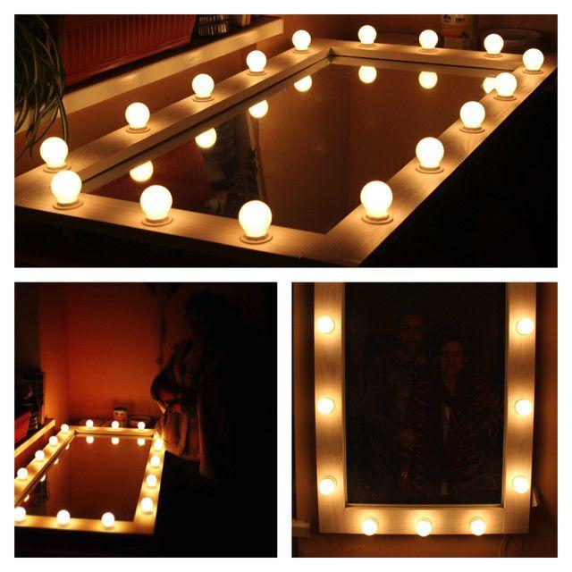 Зеркало в деревянной раме с подсветкой для артистической гримерки. Купить или заказать индивидуально в Украине вы можете в мастерской изделий из натурального дерева Beaver's Craft - мебель, декор, аксессуары и деревянные принадлежности для дома