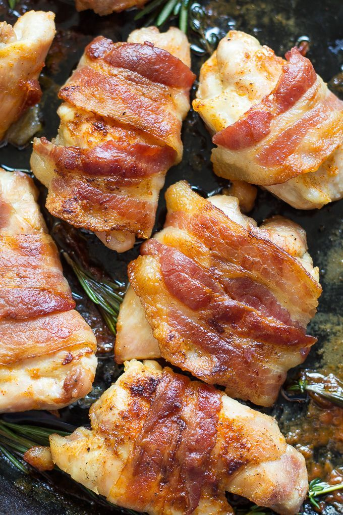 One-pan Paleo bacon wrapped chicken that's easy enough for a weeknight, seriously delicious, and Whole30 friendly with sugar free bacon.