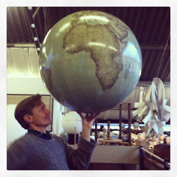 www.bellerbyandco.com  globes, globe, globemaker, peter bellerby, world in hands, world, the world, earth, bellerby and co, handmade, bespoke, custom, artisan, craftsman. Photo : Jade Fenster