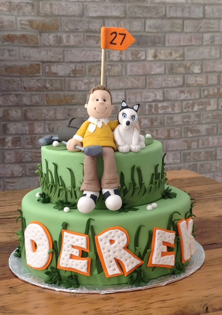 Golf Inspired Birthday Cake. Cake for a man who enjoys golfing and his dog. Green fondant 2 tiered Birthday Cake. Chocolate cake with chocolate buttercream and raspberry layers.