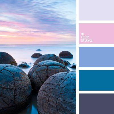 celeste claro, color azul claro, color lila, colores de la salida del sol, colores violeta y rosado suave, de color malva, elección del color, paleta de matices fríos, rosado claro, selección de colores para un dormitorio, tonos suaves, violeta claro.