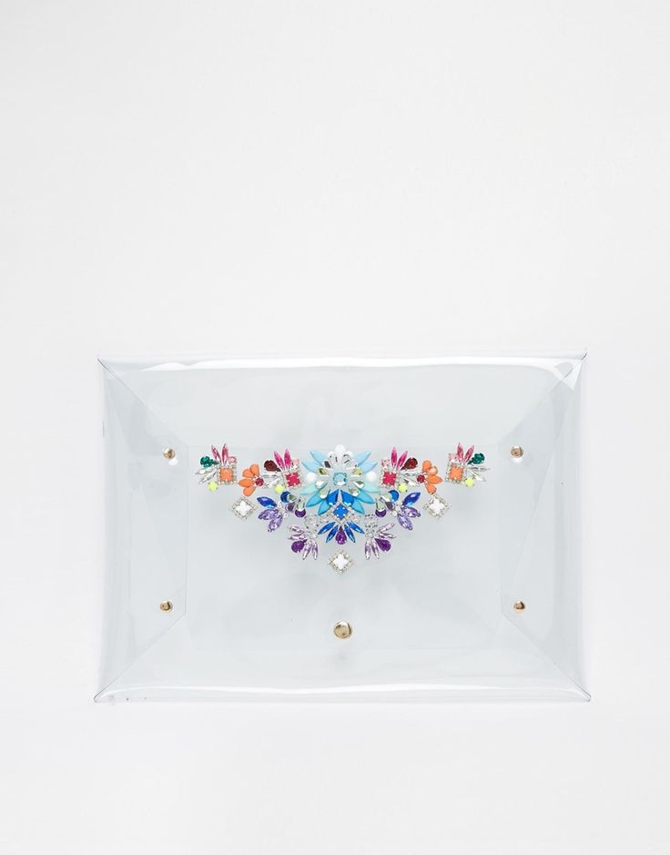 Image 1 ofSkinnydip Envelope Clutch with Embellishment