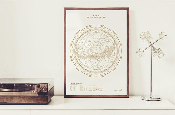THE SOUTHERN SKY, Silkscreen Print (Gold / White)  
