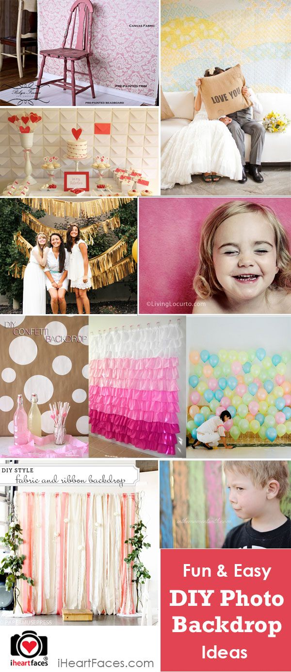 10 Fun and Easy DIY Photography Backdrops, love the gold table cloth idea!