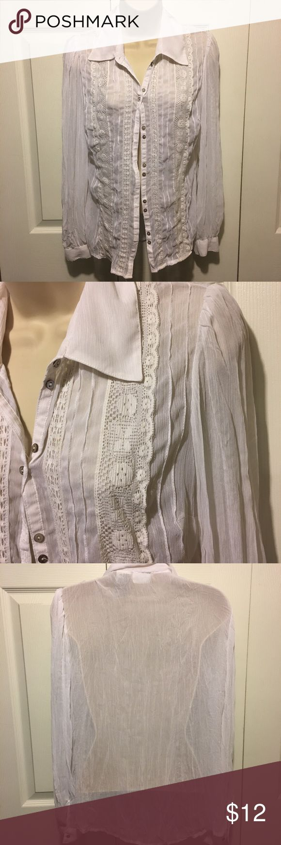✅White See Through Blouse Excellent condition. Never been worn. Blouse is see through and has beautiful embroidery. Combine with any other item with a ✅ for a $15 bundle. Or add 3 more items & get 30% off! White Stag Tops Button Down Shirts