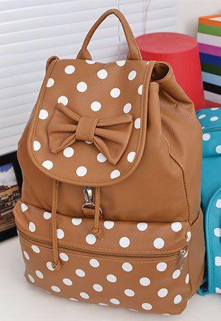 Sweet Fresh Polka Dot Print Bowknot Backpack                              …