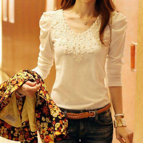 Frete Grátis Mulheres Lace Decoração Blusas e camisas 2014 Primavera de Moda de Nova Puff luva O pescoço Roupas Femininas Plus Size S-XXL US $8.90
