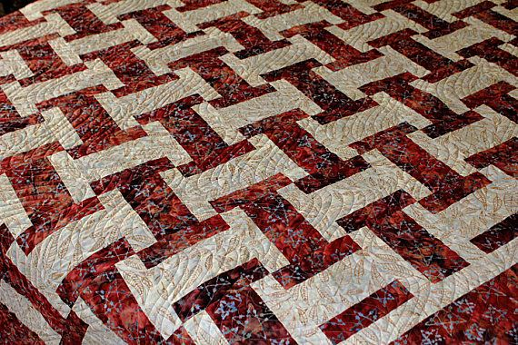 FULL size quilt.  Southwestern Inspired Brick Red Batik with