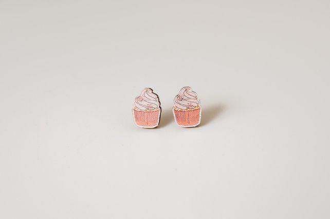Cupcake Wooden Earrings £7.95