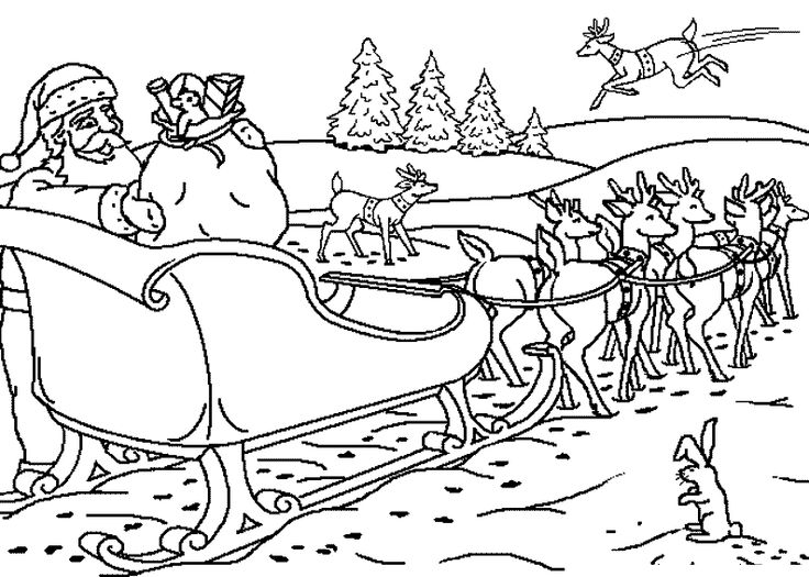 Santa Claus Rode Reindeer In Christmas Eve Coloring Pages