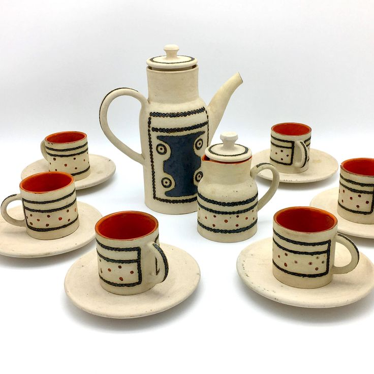 Mid Century Ceramic Tea Set - Unglazed Art Pottery Coffee Set - Tan Orange Black - Signed Art Pottery Tea Set - Scandinavian - 1969