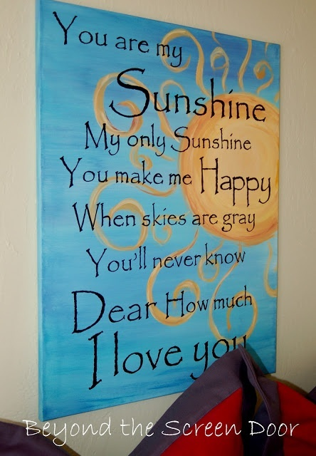 You Are My Sunshine Art Canvas | Beyond the Screen Door for my Daughters
