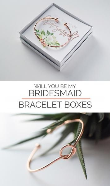 """Will You Be My Bridesmaid Gift Bracelet - Bridesmaid Proposal Box - Bridesmaid Gift - Tie the Knot Bracelet - Will You Be My Bridesmaid Card These rose gold or gold tie the knot bracelets with a bridesmaid proposal box asking your wedding party """"Will you be my Bridesmaid?"""" is a unique way to ask them to be your bridesmaid and a wedding keepsake."""