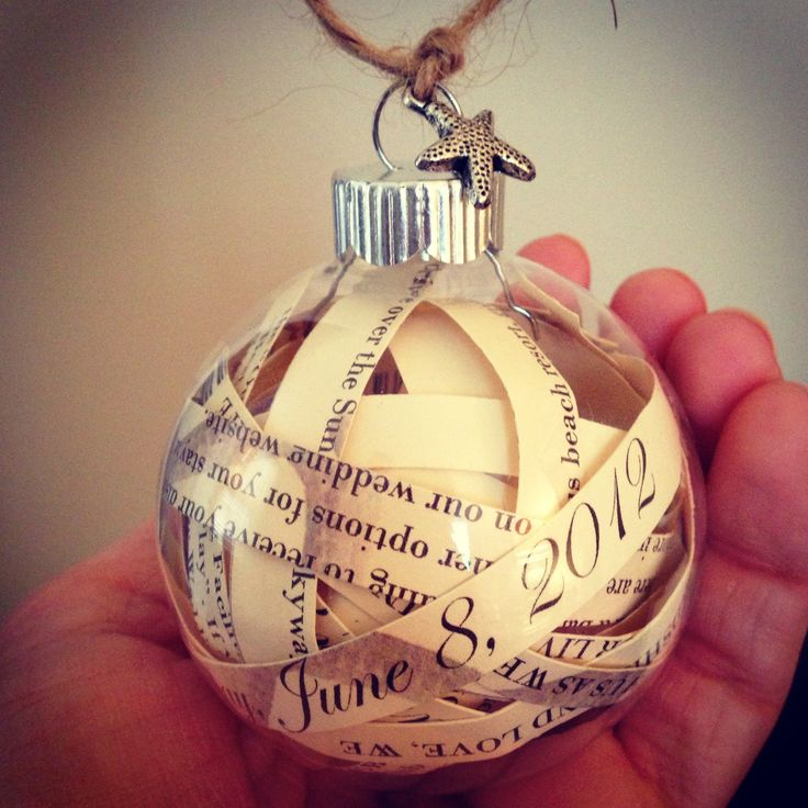 Cut your wedding invitation into strips, and place inside a clear Christmas Bulb - perfect for your first Christmas as a married couple!