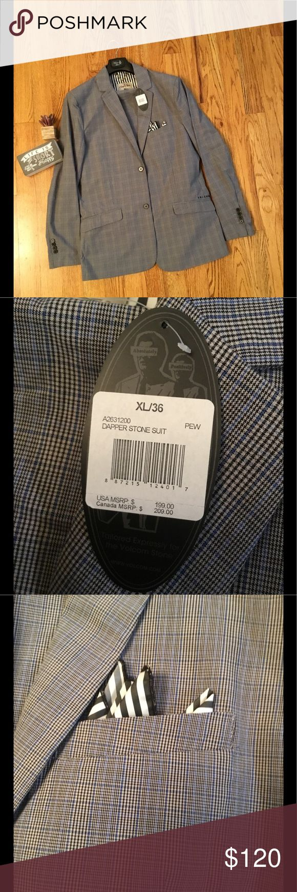 NWT!!! VOLCOM SUIT NWT Volcom Suit. Grey plaid type pattern. Includes black and white stripe pocket square. Great details! Volcom Suits & Blazers Suits