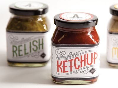 Hand-written type and packaging for a high class condiment line. Ketchup