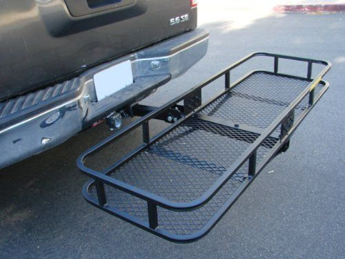 """60"""" Truck Car Mounted Folding Cargo Carrier Basket Luggage Rack Hitch Hauler by T-Motorsports. $63.73. Requires Class III or IV trailer hitch (2"""" square hole).Can be used on a class II trailer hitch by purchasing the 1-1-4"""" to 2"""" hitch adapter. Brand new 60"""" x 20"""" Steel Folding Hitch Mounted Cargo Carrier Basket. Fits Class III or larger 2"""" trailer hitches - weight capacity 500 lbs. This folding basket features a pull-pin design to conveniently fold up and out of..."""