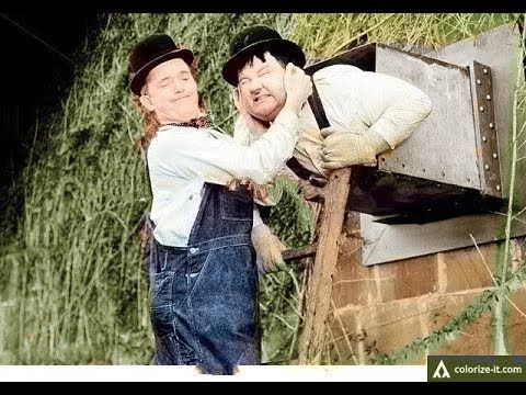 Laurel and Hardy Busy Bodies(1933)COLORIZED!!!Best comedy videos ever Fu...