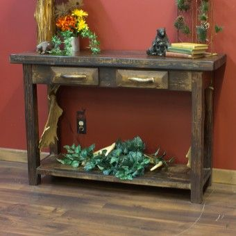 pine sofa table with antler handles accents rustic western decor antler hunting