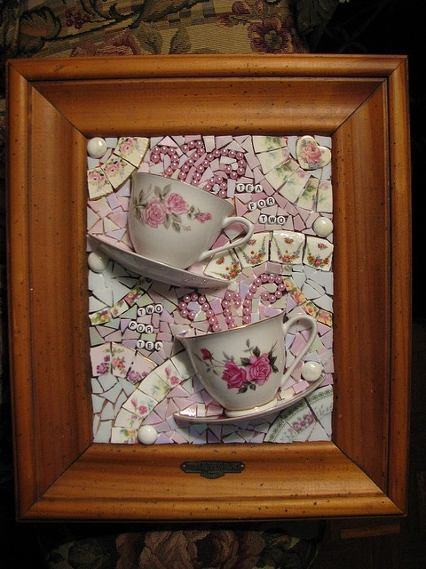 "WIP - ""Tea for two"" mosaic wall art by mrsdutchy (shabbygirlmosaics), via Flickr"