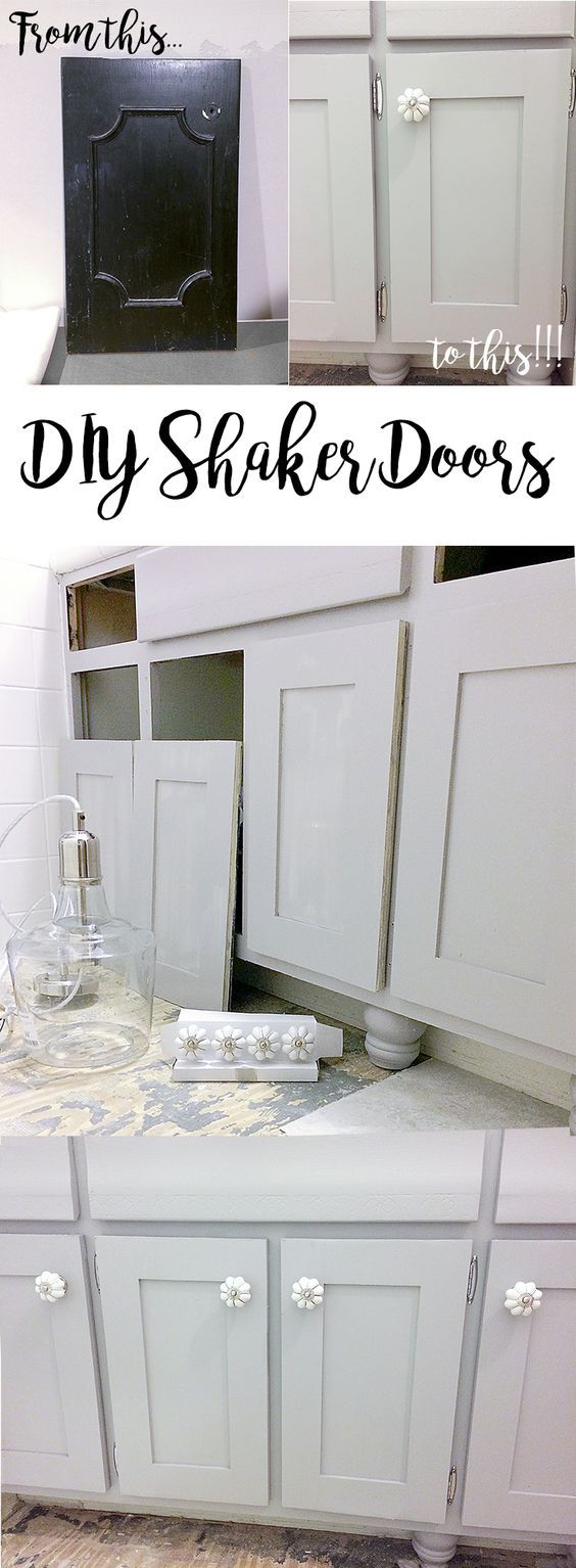 From 1970s dated vanity to updated shaker cabinets, this bathroom just got a big facelift! #diy #shakerdoors #cabinets #vanity #bathroom #bathroomrenovation #gray #white #refacing #upgrade