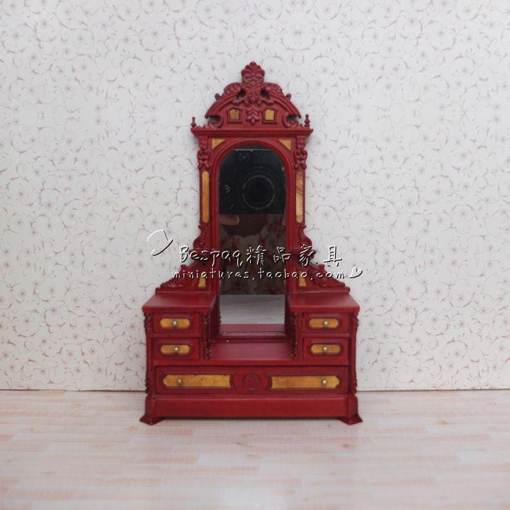 1/12 mini casa de boneca de madeira de mogno estilo vitoriano cômoda penteadeira móveis dollhouse miniature(China (Mainland))