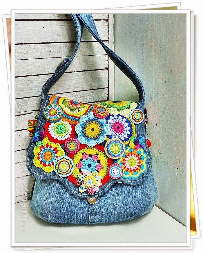 Crochet flower denim bag