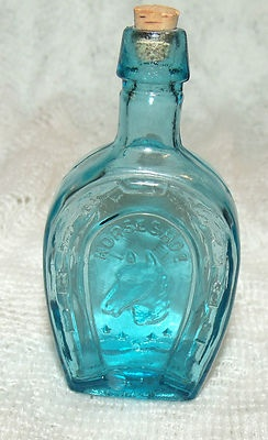 Wheaton Blue Horse Horseshoe Bitters Miniature Glass Bottle: Antique Bottles, Bitters Bottles, Glass Bottles, Bottle Collecting, Bitters Miniature